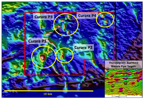 Figure 2. Venus Metals Curara Well tenement (ELA 52/3069) over the regional magnetic image showing Red Bore-style breccia pipe targets (Curara P1-4) in yellow.