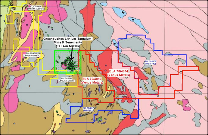 Figure 1 – Greenbushes East tenement areas E70/4810 & 4814 (red) with prospect locations over regional geology. The Greenbushes mine area is shown in green, Metalicity applications area in blue whilst Lithium Australia's applications are in yellow.