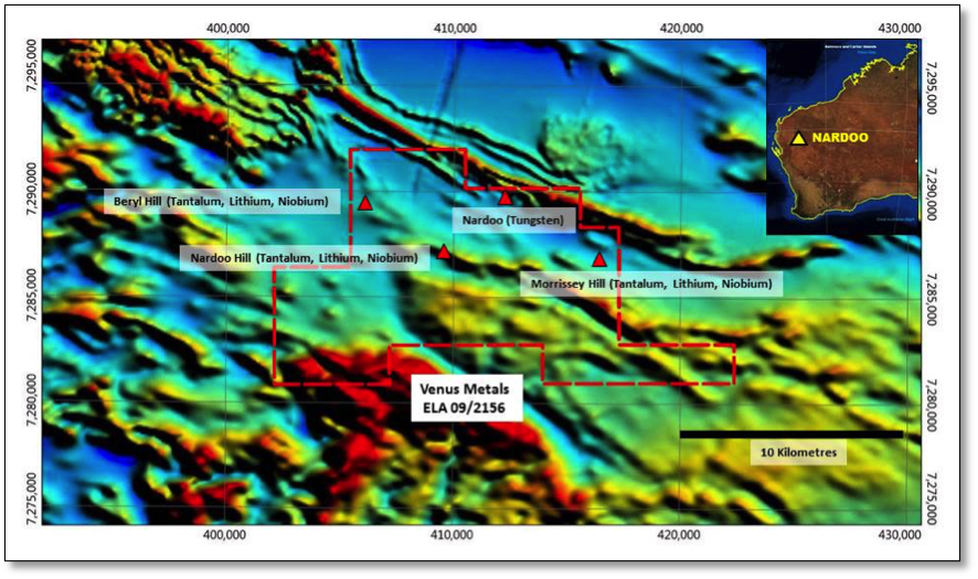 Figure 1. Nardoo tenement application area (red) & prospect locations over regional geophysics