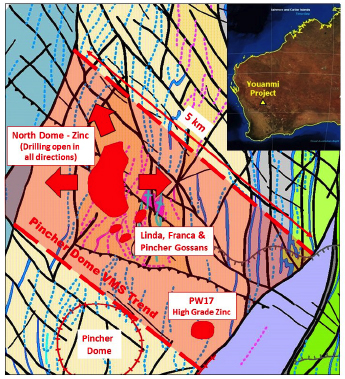 Figure 1 – Interpretive geology of the Pincher Dome showing the outline of VMS trend (pink) and prospect locations.